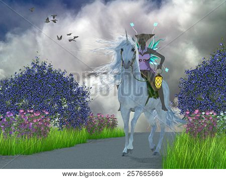 Fairy Lila With Unicorn 3d Illustration - A Fairy Dressed In Pink Lavender Rides A Magical White Uni