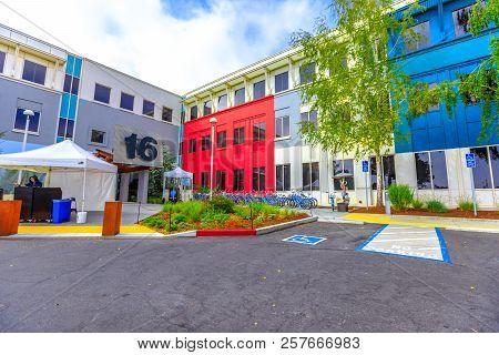 Menlo Park, California, United States - August 13, 2018: Main Campus Of Facebook Headquarters, Build