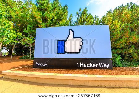 Menlo Park, California, United States - August 13, 2018: A Sign At Entrance To Facebook Headquarters