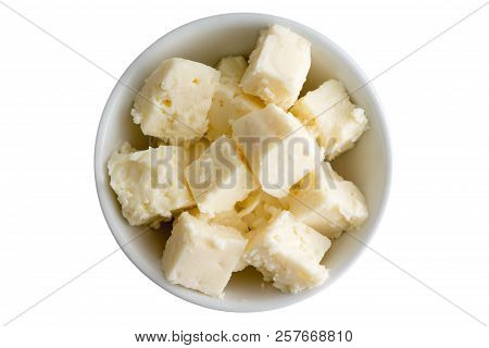 Fresh Crumbly Traditional Mediterranean Feta Cheese In A Bowl Made With Sheep And Got Milk Cured In