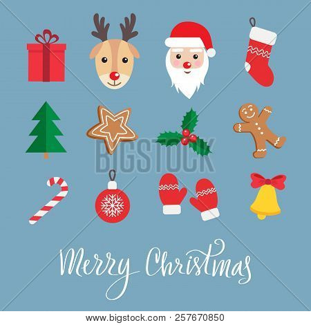 Christmas And New Year Symbols Icon Set. Gingerbread Man, Santa Claus, Deer, Candy, Gift, Ball Chris