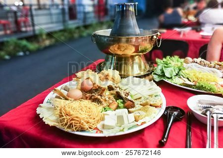Hot Pot Or Steamboat Asian Style On Charcoal Powered Pot