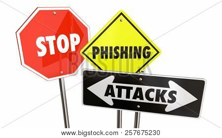 Stop Phishing Attacks Email Spam Warning Signs 3d Illustration