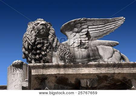 Marble statue depicting the Lion of San Marco in Verone poster
