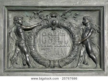 Grimm Brothers - inscription of the famous literary monument in Hanau city, Germany, sculpted by Syrius Eberle