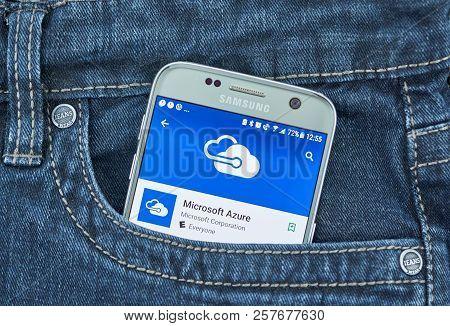 Montreal, Canada - September 8, 2018: Microsoft Azure App. Microsoft Azure Is A Cloud Computing Serv