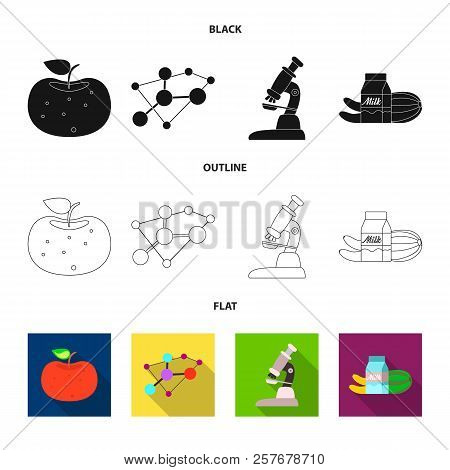 Isolated Object Of Genetic And Plant Sign. Set Of Genetic And Biotechnology Vector Icon For Stock.