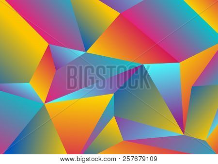 Colorful Tech Low Poly Splinters Abstract Background. Polygonal Vector Design