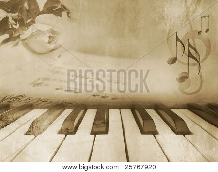 Grunge musical background - piano keys, sheet music and rose - vintage design in sepia tone