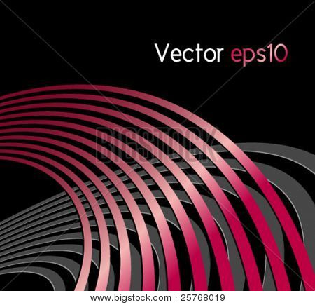 Abstract background with circles and curved lines - symbolic of acoustic sound waves, radio waves and technical vibrations - suitable for music, business and technology designs