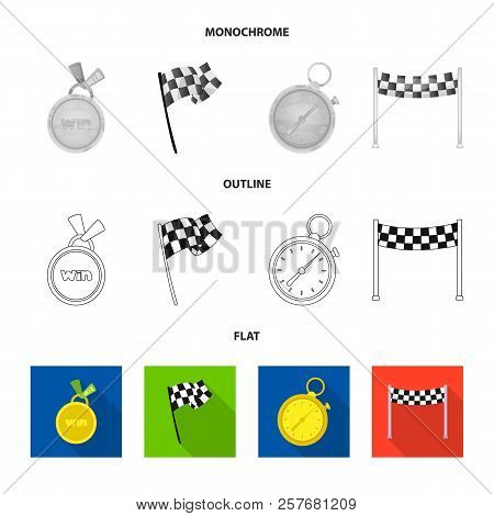 Vector Illustration Of Car And Rally Sign. Set Of Car And Race Stock Vector Illustration.