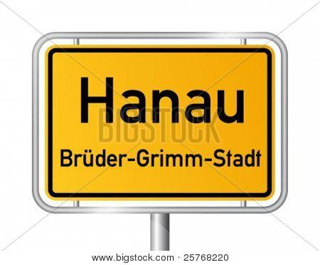 City limit sign HANAU against white background - vector illustration