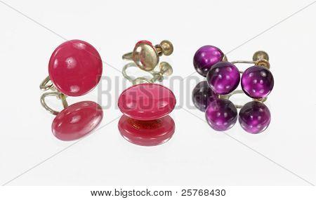 Mirror Image Rose And Purple Earrings