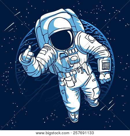 Astronaut. Spaceman In Space On Moon Or Earth Planet Background Vector Illustration