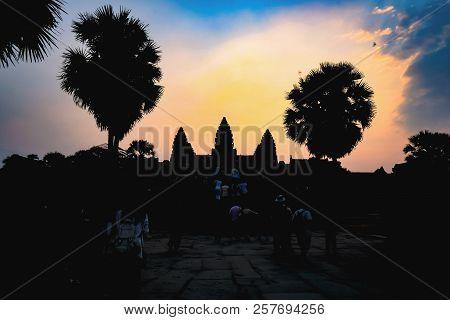 Silhouette Ankor Wat With Beautiful Sunrise Sky,siem Reap,cambodia