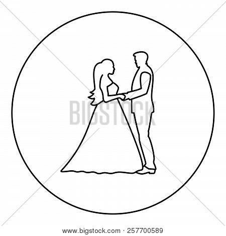 Bride And Groom Holding Hands Icon Black Color In Round Circle Outline Vector Ilration