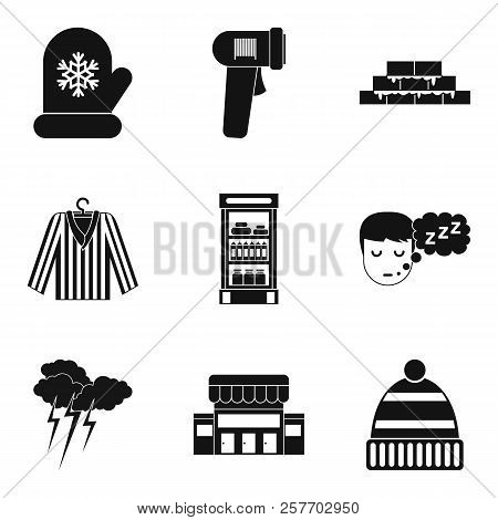 Warm Hut Icons Set. Simple Set Of 9 Warm Hut Icons For Web Isolated On White Background