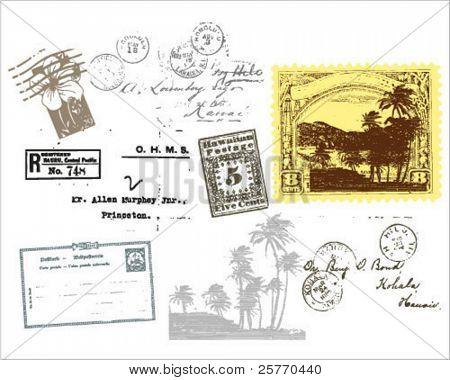 Vintage stamps elements