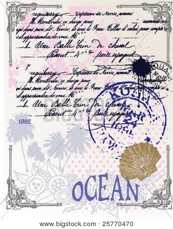 Travel letter vintage background graphic