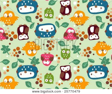 Owls and Leafs seamless wallpaper