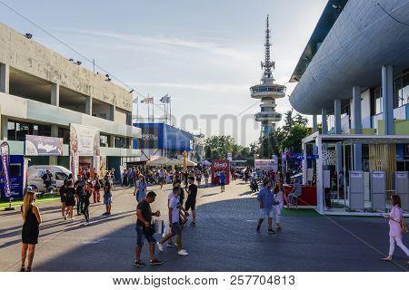 Thessaloniki, Greece - September 10 2018: Inside 83rd International Fair With Crowd. Fair Takes Plac