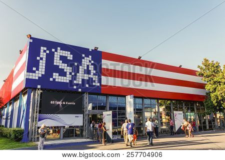 Thessaloniki, Greece - September 10 2018: Usa Pavilion Facade Painted With Flag Colors Inside 83rd I