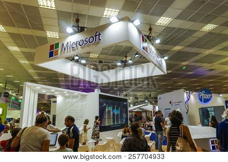 Thessaloniki, Greece - September 10 2018: Inside Usa Pavilion With American Companies And Visitors A