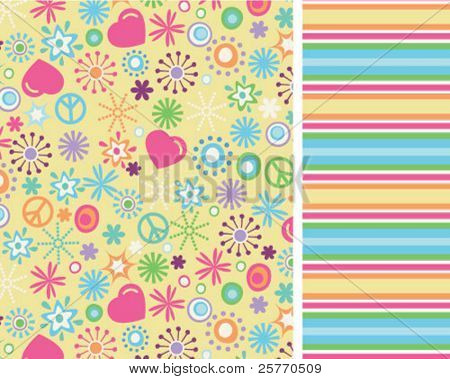Sunny love and peace seamless repeat