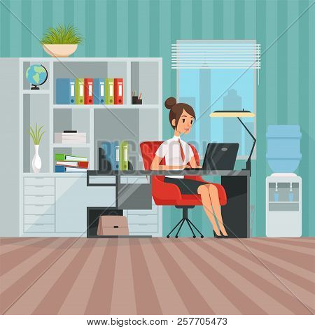 Workspace Of Woman Manager. Business Lady At Work. Secretary Sitting, Worker Businesswoman In Office