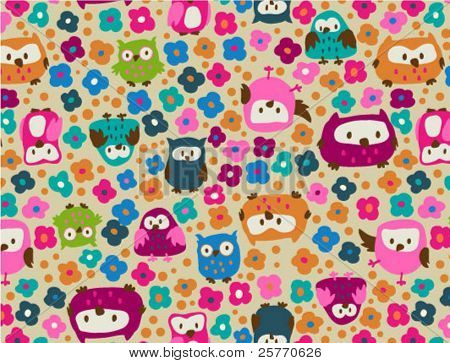 Cute owls and ditsy flowers seamless background