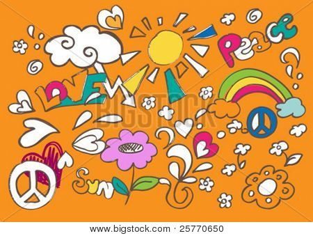 Child like fun vector doodles