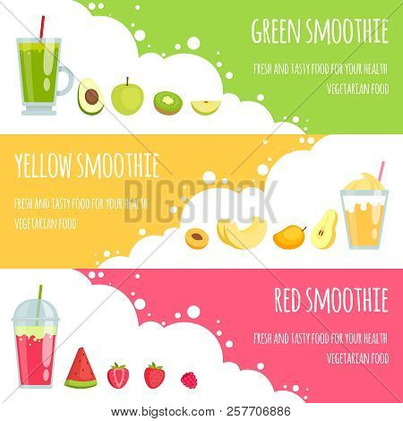 Summer Smoothie. Horizontal Banners Of Various Smoothie Drinks. Vector Smoothie Fresh Fruit Drink, J