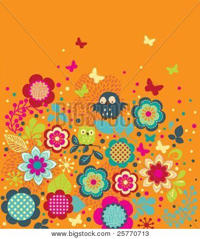 Cute Owls and Butterflies