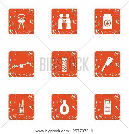 Outside Bbq Icons Set. Grunge Set Of 9 Outside Bbq Icons For Web Isolated On White Background