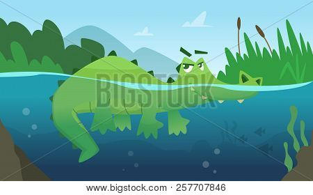 Crocodile In Water. Alligator Amphibian Reptile Wild Green Angry Wild Animal Swimming Vector Cartoon