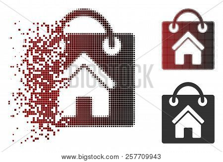 Buy Home Icon In Dissolved, Dotted Halftone And Undamaged Solid Versions. Pixels Are Organized Into