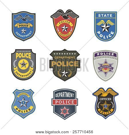 Police Badges. Security Signs And Symbols Government Department Officer Law Enforcement Vector Logot