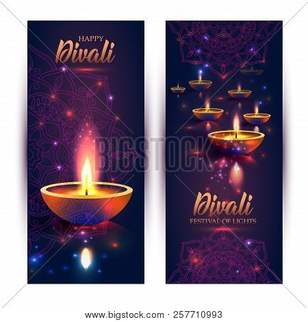 Happy Diwali Festival Of Lights. Retro Oil Lamp On Background Night Sky, Illustration In Vector Form
