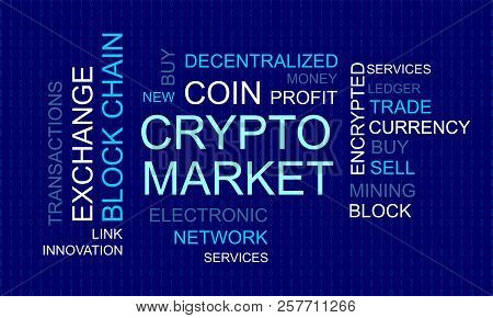 Crypto Market. Flat Thin Line Designed Vector Text On Dark Background. Concept Of Business, Finance