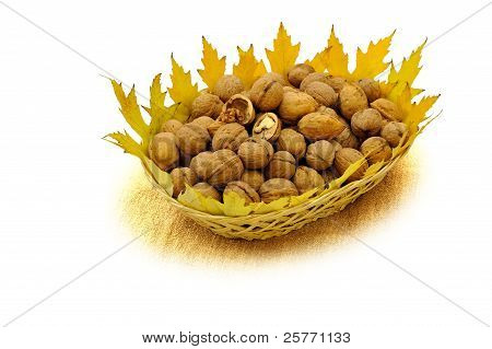 The  Walnuts In Basket  With Maple Leafs On Sackcloth