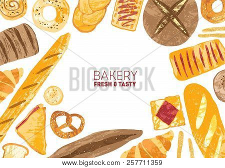 Horizontal Banner Decorated With Breads And Baked Products Of Various Types On White Background - Lo