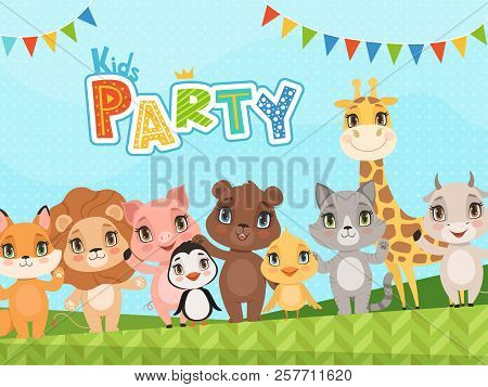 Jungle Animals Background. Celebration Placard Or Baby Shower Labels Wit Vector Pictures Of Cute Lit