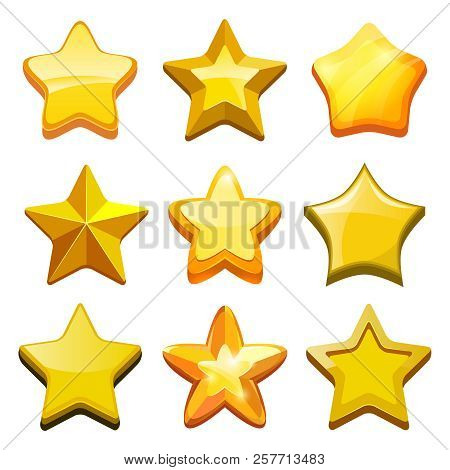 Game Cartoon Stars. Crystal Golden Gui Buttons Icons And Status Bar Vector Mobile Gaming Template. S