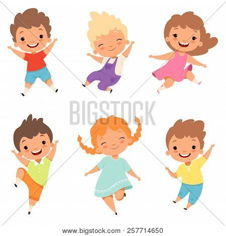 Jumping Children. Cute Surprised Playing Crazy Happy Kids Male And Female Boys And Girls Vector Cart