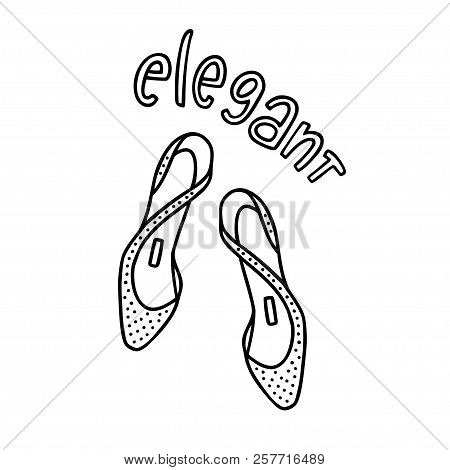 Pair Of Lady's Shoes With A Handwritten Word Elegant