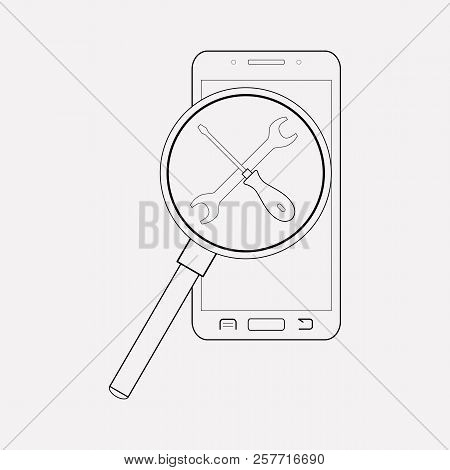 Find My Phone Service Icon Line Element. Vector Illustration Of Find My Phone Service Icon Line Isol