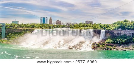 View At The American Fall And Bridal Veil Falls (right) With Niagara River At Usa Territory From Nia