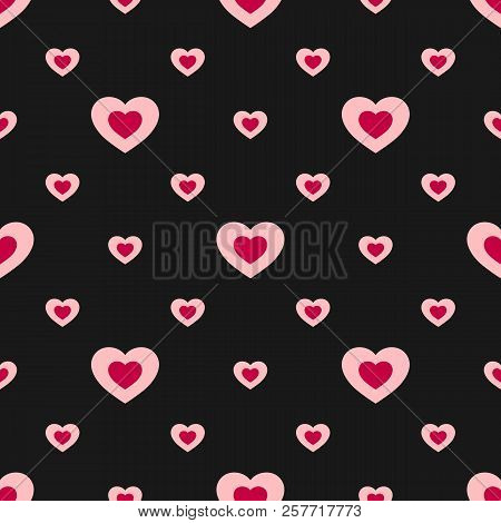 Valentines Day Seamless Pattern With Colorful Hearts. Abstract Geometric Texture In Red, Pink And Bl