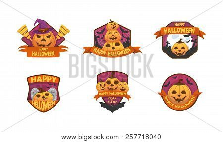 Set Of Cartoon Style Happy Halloween Labels And Budges.with Pumpkin Heads. Bats, Moon, Tombstone Sti