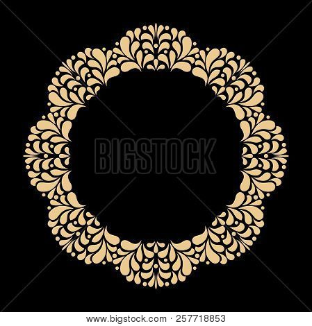 Vintage Round Frame In Retro Style, Barroco. Flower Decorative Ornament, Element For Greeting Cards,